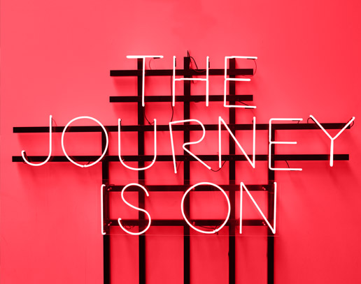 Journey is on neon sign